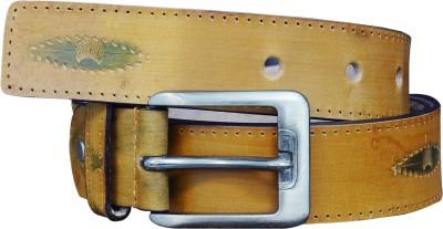 Adhaans Men Casual Beige Genuine Leather Belt