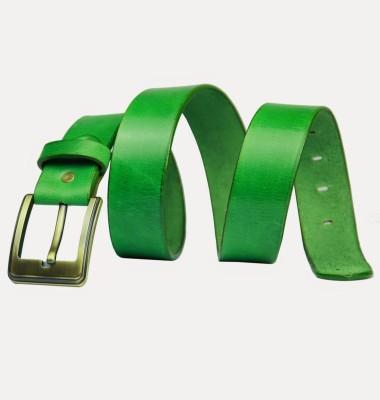 99Cells Men, Women Casual Green Genuine Leather Belt
