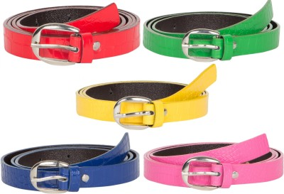 Mdr Collections Girls Formal Pink, Blue, Yellow, Red, Green Artificial Leather Belt