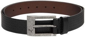 Puma Men, Women Black Genuine Leather Belt