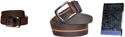 sankalp Men Casual Maroon Genuine Leather Belt