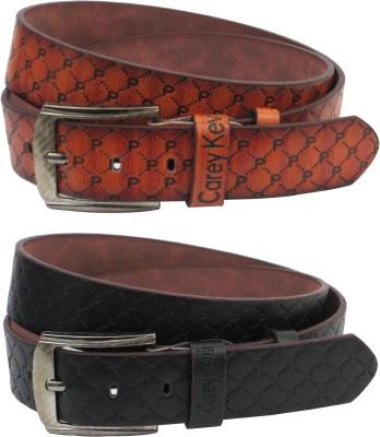 Carey Kevin Men Casual Brown, Black Genuine Leather Belt