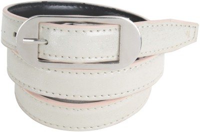 Honey Badger Women Casual White Artificial Leather Belt