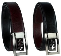 Revo Men Formal Black, Brown Synthetic Reversible Belt