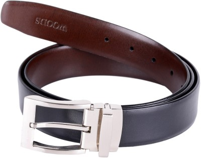 Woodland Men Black Genuine Leather Belt