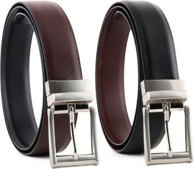 YOURS LUGGAGE Boys, Men Casual, Party, Formal Black, Brown Synthetic, Genuine Leather Reversible Belt