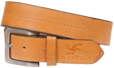 Swastika Men Formal Brown Genuine Leather Belt