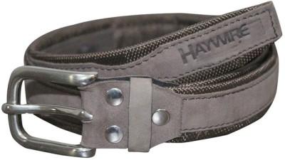 Haywire Men Casual Grey Genuine Leather Belt