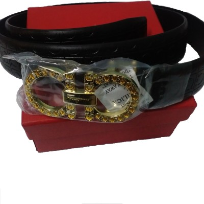 Rafea Men, Boys Black Artificial Leather Belt