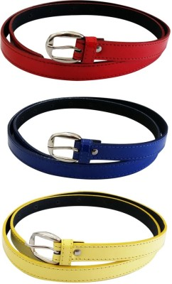 Verceys Girls, Women Casual Red, Blue, Yellow Artificial Leather Belt