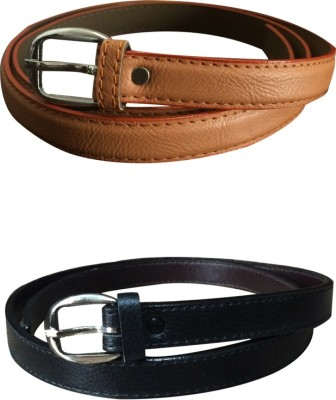 Verceys Girls Casual Tan, Black Artificial Leather Belt