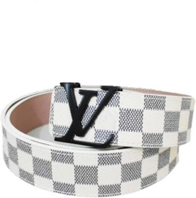 Zaira diamond Men White Genuine Leather Belt