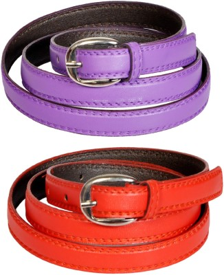 Swan Collection Girls, Women Casual, Formal, Evening Red, Purple Artificial Leather Belt