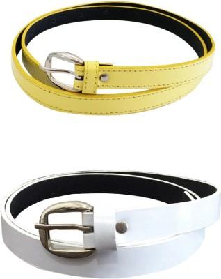 Verceys Girls, Women Yellow, White Artificial Leather Belt
