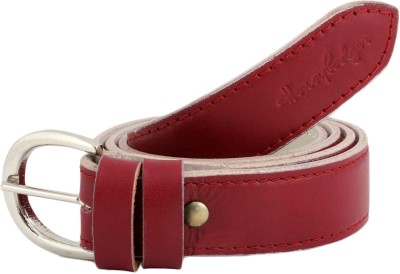 Honey Badger Women Casual Red Artificial Leather Belt