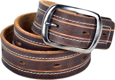 Drakemen Men Casual Brown Genuine Leather Belt