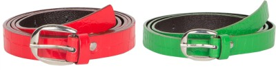 Mdr Collections Girls Formal Green, Red Artificial Leather Belt