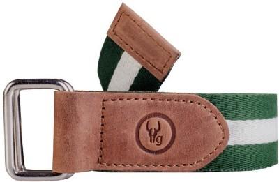 Hidegear Men Casual Green Canvas, Genuine Leather Belt