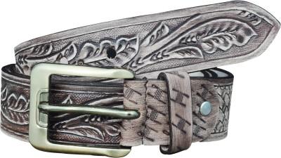 Adhaans Men Casual Grey Genuine Leather Belt