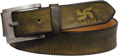 Swastika Men Evening Green Genuine Leather Belt