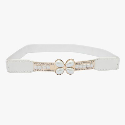 SRI Women Casual, Party White Artificial Leather Belt