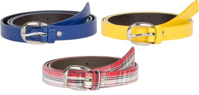 Mdr Collections Girls Formal Yellow, Maroon, Blue Artificial Leather Belt