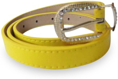 Rege Girls Casual Yellow Artificial Leather Belt