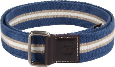 Kaizu Men Casual Blue Canvas, Genuine Leather Belt