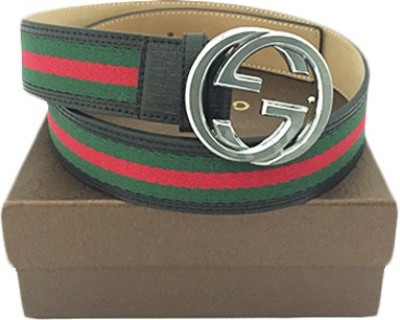 Zaira diamond Men Red, Green Fabric, Genuine Leather Belt