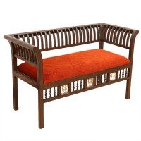 ExclusiveLane Teak Wood Solid Wood 2 Seater(Finish Color - Walnut Brown)