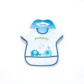 Mycey Big Stainproof Bibs with Crumb Catcher Pocket - Friends forever(white & blue)