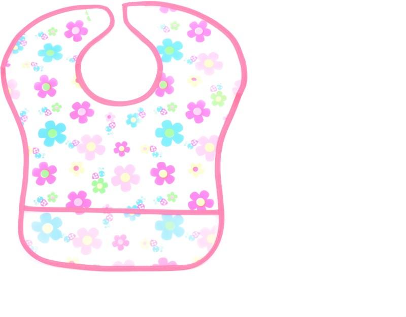 U & Me Plastic bib with crumb catcher dark pink(Multicolor)