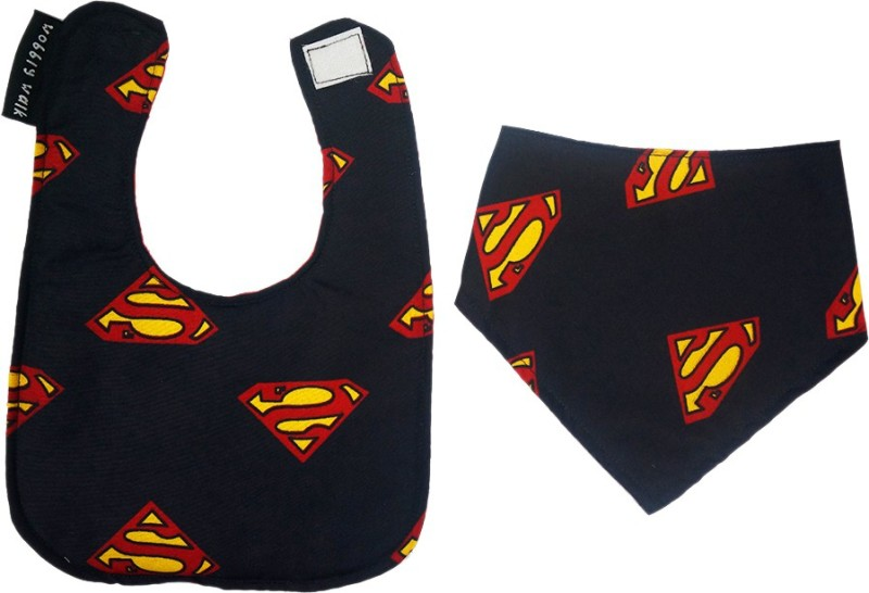 Wobbly Walk Pack of 2 Superman Bibs(Black)