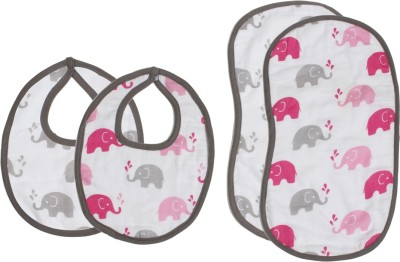 Bacati Elephants Pink/GreyMuslin 4 pc set of Burpies/Bibs