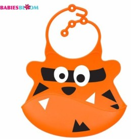Babies Bloom Grill The Shark Silicone Baby With Crumb Catcher(Orange)