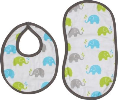 Bacati Elephants Aqua/ Lime/GreyMuslin 4 pc set of Burpies/Bibs
