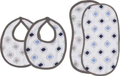 Bacati Moroccan Tiles Blue/Grey Muslin 4 pc set of Burpies/Bibs