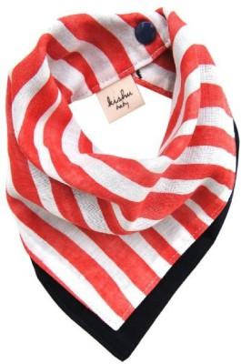 Kishu Baby Reversible Dribble Bib with Red Stripes(Red, White, Black)
