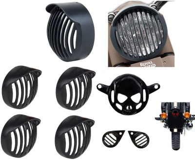 RJVON R.J.VON - Rear Customized Head Light Grill, Indicator Grill With Cap, Tail Light Skull, Eyes Grill RJHG48388 Bike Headlight Grill(Black)