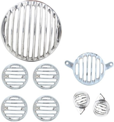 RJVON Heavy Grill and Indicator and Tail Light Eyes Grill RJ65748 Bike Headlight Grill(Silver)