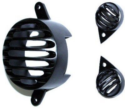 AutoSun Combo of 1 Brake and 2 Pilot for Royal Enfield Bike Headlight Grill(Black)