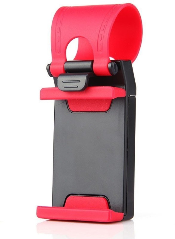 Swarish CrackDeals Retractable Silicon Car Steering Wheel Universal Phone Socket Stand Clip Bike Mobile Holder(Red)