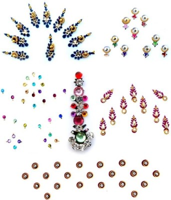 Smartkshop Fancy and Trendy Combo Pack -6 Pcs Forehead Multicolor Bindis