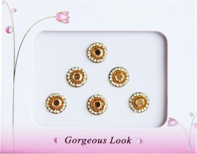 Vinita's Stones Forehead Gold, White Bindis
