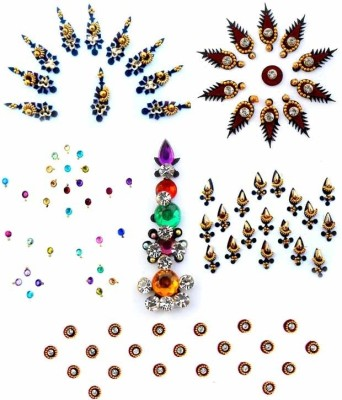 Smartkshop Fancy Combo Pack -6 Pcs Forehead Multicolor Bindis
