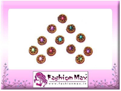 Fashion Max Full Moon with Multicolor Stone Forehead Red Bindis