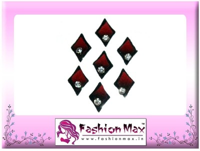 Fashion Max Kite Shape Red Black Tinted with Stone Forehead Red Bindis