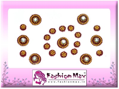 Fashion Max Full Moon in 2 different size with Crystal Forehead Maroon Bindis