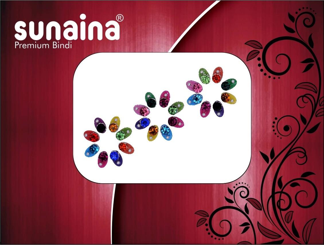 Sunaina PREMIUM COLLECTION OVEL FOREHEAD Multicolor Bindis(Fancy Design)
