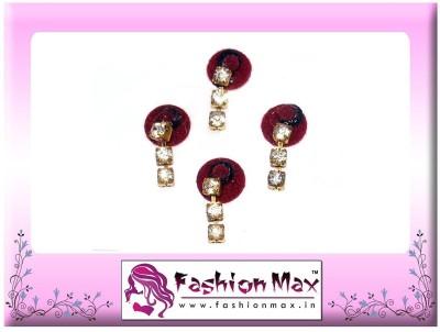 Fashion Max Full Moon with 3 Stone Crystal Droping Forehead Maroon Bindis